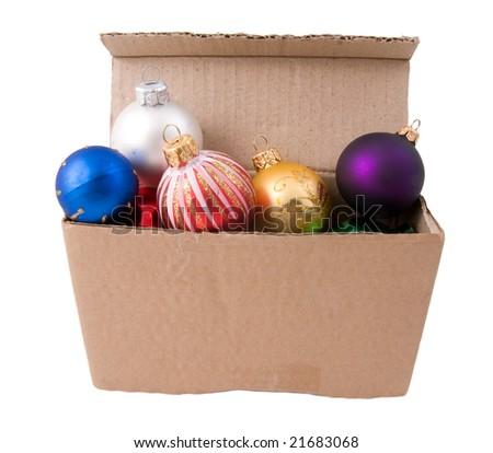 cardboard box with xmas decorations - Cardboard Box Christmas Decorations