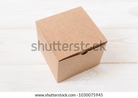 Cardboard Box Christmas Tree Branch White Background Stock Photo