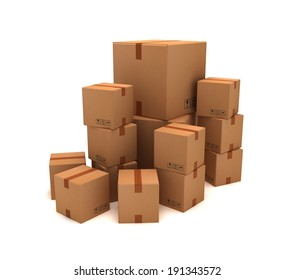 Cardboard Boxes 3d Realistic pile , white isolated