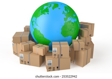 Cardboard boxes around  Earth globe   isolated on white background