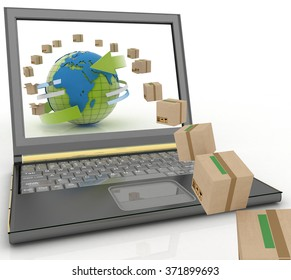 Cardboard boxes around the globe on a laptop screen. Concept of online goods orders worldwide