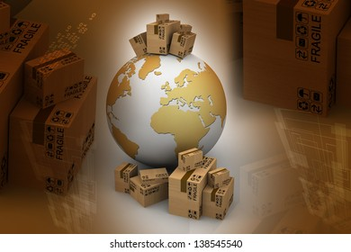 Cardboard boxes around the world. Global shipment concept