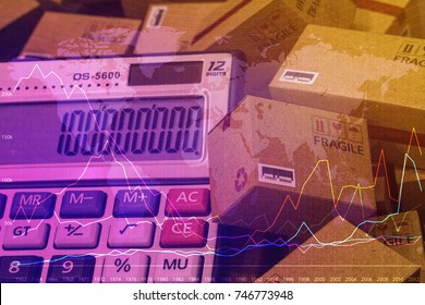 Cardboard boxes and a calculator with numbers appear.Technical chart of Financial expansion.For several purposes or concept about Increasing transport rates, international freight,global shipping.