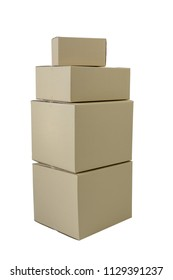 Cardboard boxes in different sizes stacked boxes isolated on white background with clipping path