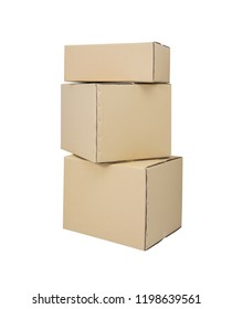 Cardboard boxes in different sizes stacked boxes isolated on white backgrouns with clipping path