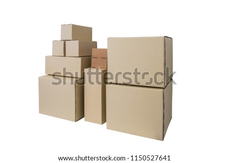 cardboard boxes different sizes stacked boxes stock photo edit now