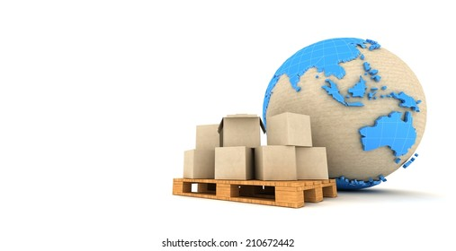 Cardboard boxes and Earth globe.