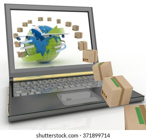 Cardboard boxes, globe on a laptop screen and airplane. Concept of online goods orders worldwide