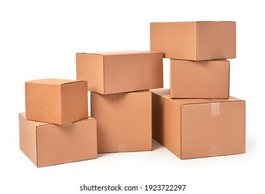 Cardboard boxes group on white background