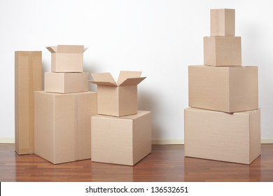 Cardboard boxes in interior, moving day