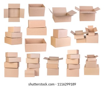 Cardboard boxes isoalted on white background