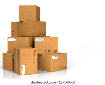 Cardboard Boxes Isolated on White Background.
