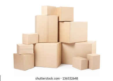 Cardboard boxes isolated on white, clipping path