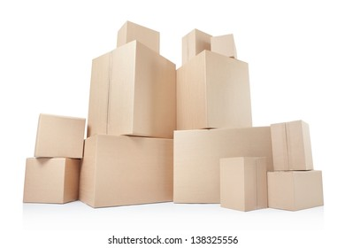 Cardboard boxes, low angle view isolated on white, clipping path