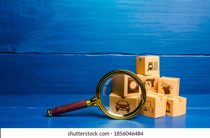 Cardboard boxes and magnifying glass. Monitoring and verification of goods, import certification. Quality control. Consumer market research. Customs clearance. Antimonopoly. Inventory. Cargo tracking