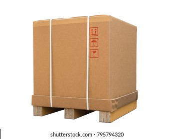 Cardboard boxes on a pallet. Isolated on white background. Large box for export goods. Cargo delivery and transportation logistics