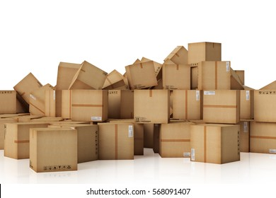 Cardboard boxes on a white background. Moving Transportation and business concept. 3d rendering