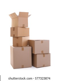 Cardboard boxes on white background