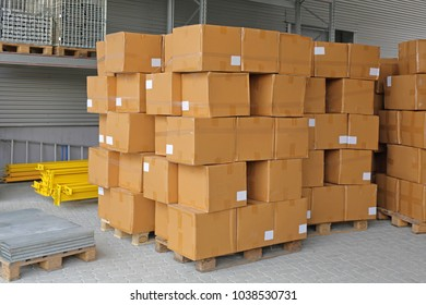 Cardboard Boxes Packed at Pallets Ready for Shipping
