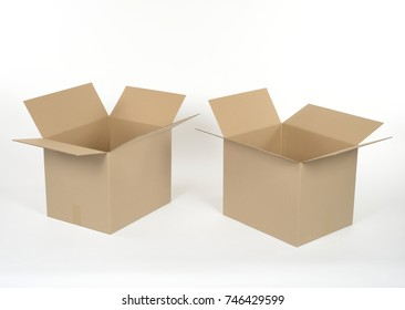 Cardboard boxes for packing on white background