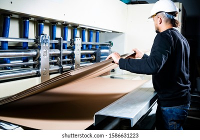 Cardboard boxes production. Worker in a hard hat holding cartons in his hands.
