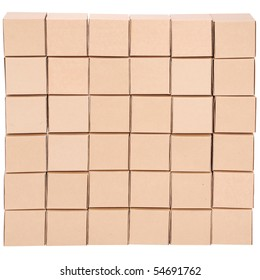 Cardboard boxes. Pyramid from boxes on white background