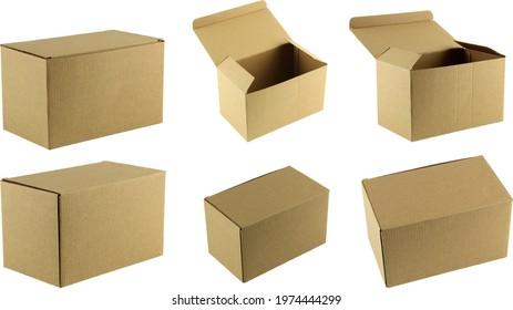 Cardboard boxes set of images