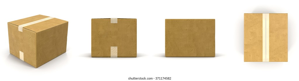 Cardboard Boxes Set on White Background