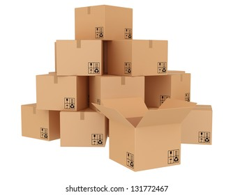 cardboard boxes stacked on each other