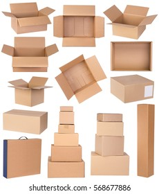 Cardboard boxes in various shapes and sizes isolated on white background