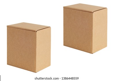 Cardboard boxes of various sizes are arranged in a row diagonally. Isolated on a white background.