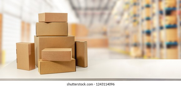 cardboard boxes in warehouse ready for transportation and delivery. copy space
