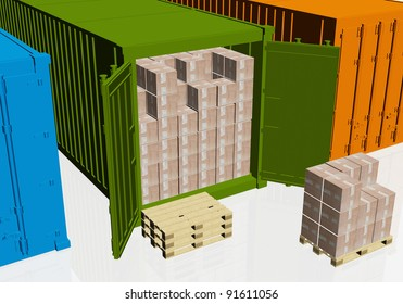 Cardboard boxes, wooden pallets and open container on white
