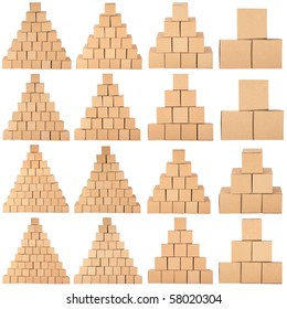 Cardboard boxes.Pyramid from boxes on white background