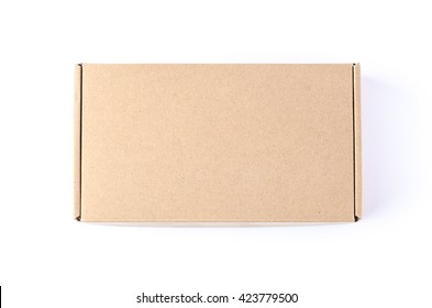 Cardboard brown box or Craft package box isolated top view on a white background