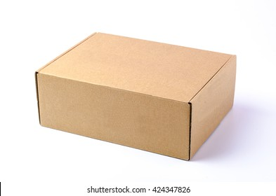 Cardboard brown box or Craft package box isolated on a white background
