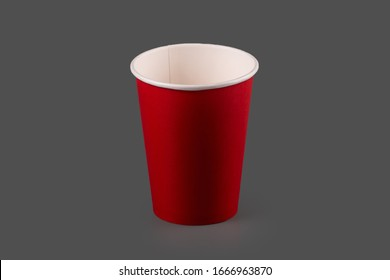 Cardboard cup on a gray background