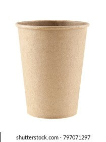 cardboard disposable cup for coffee isolated on white background