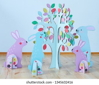Cardboard Easter bunnies. Easter decor for party. Film effect