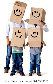 Cardboard family characters - isolated over a white background