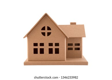 Cardboard house isolated on white with clipping path