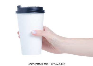 Cardboard paper cup of coffee in hand on white background isolation