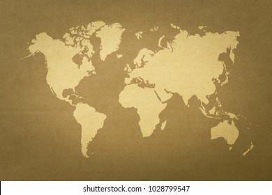 Cardboard paper texture background natural color with world map