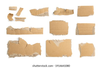 Cardboard Pieces Set Isolated. Carton Piece Mockups Collection, Ripped Kraft Paper for Templates, Brown Wrapping Fragmentary Papers with Copy Space Top View