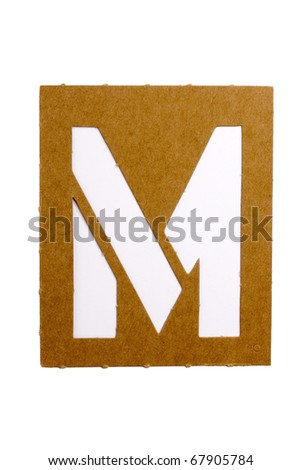 cardboard stencil letter m for the replication of the letters and make words