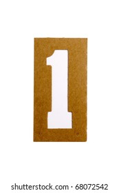 "Cardboard stencil number ""1"" for the replication of the letters and make words."