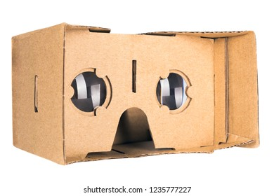 Cardboard virtual reality glasses isolated on a white background