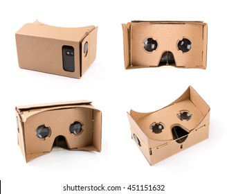 cardboard virtual reality glasses isolated on white