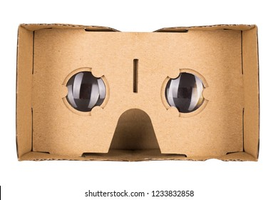 Cardboard virtual reality glasses. Cardboard VR goggles for simulation immersive multimedia isolated on a white background