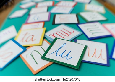 Cardboards with syllables for learning to read